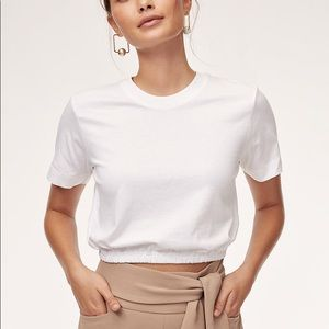 Aritzia Wilfred Piaf Cropped Tee Pink NEW